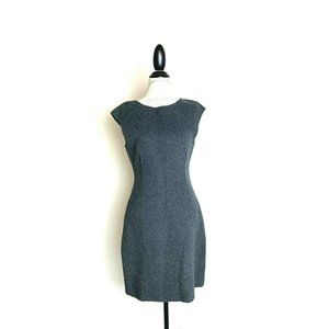 Theory Felted Wool Sheath Dress Gray 8 EUC